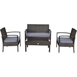 4 PCS Patio Rattan Cushioned Furniture Set -Brown - Color: Brown