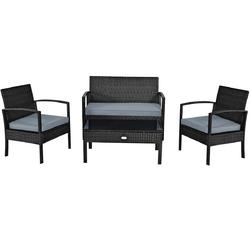4 PCS Patio Rattan Cushioned Furniture Set -Black - Color: Black