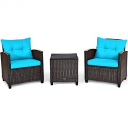 3 Pcs Patio Rattan Furniture Set Cushioned Conversation Set Coffee Table-Turquoise - Color: Turquoise