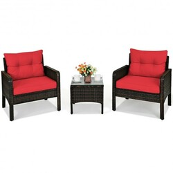 3 Pcs Outdoor Patio Rattan Conversation Set with Seat Cushions-Red - Color: Red