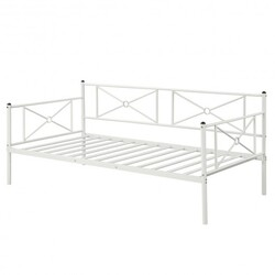 Metal Daybed Twin Bed Frame Stable Steel Slats Sofa Bed-White - Color: White