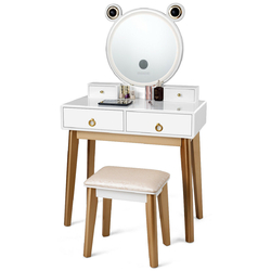 Category: Dropship Bathroom Vanities, SKU #HW63772US, Title: Vanity Table Touch Screen Dimming Mirror W/Bluetooth Speakers