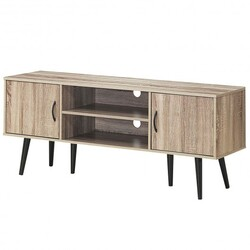 Category: Dropship Entertainment Centers & Tv Stands, SKU #HW63833, Title:  TV Stand w/ 2 Storage Cabinets 2 Open Shelves