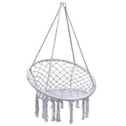 Hanging Macrame Hammock Chair with Handwoven Cotton Backrest-White