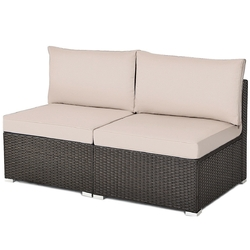 2 Pieces Patio Rattan Armless Sofa Set with 2 Cushions and 2 Pillows-Brown - Color: Brown