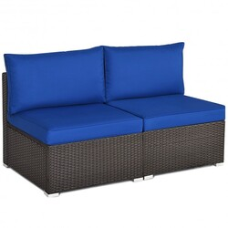 2 Pieces Patio Rattan Armless Sofa Set with 2 Cushions and 2 Pillows-Navy - Color: Navy