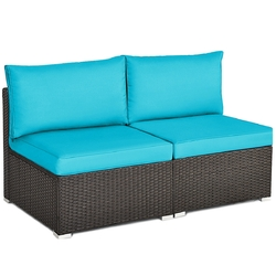 2 Pieces Patio Rattan Armless Sofa Set with 2 Cushions and 2 Pillows-Blue - Color: Blue