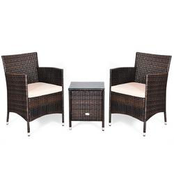 3 Pcs Outdoor Rattan Wicker Furniture Set-Beige - Color: Beige