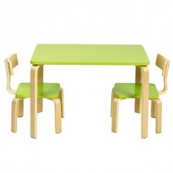 3 Piece Kids Wooden Activity Table and 2 Chairs Set-Green - Color: Green
