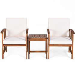 3PC Solid Wood Outdoor Patio Sofa Furniture Set-White - Color: White