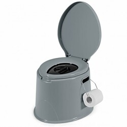 Portable Travel Toilet with Paper Holder for Indoor Outdoor - Color: Gray