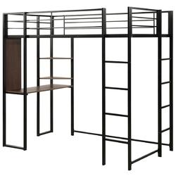 Twin Size Space-Saving Metal Loft Bunk Bed
