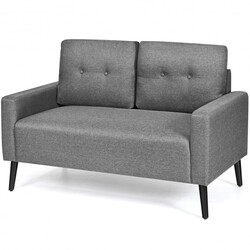 """55""""Modern Loveseat Sofa with Cloth Cushion-Gray - Color: Gray"""