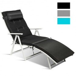 Outdoor Lightweight Folding Chaise Lounge Chair-Black - Color: Black