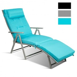 Category: Dropship Pool And Spa, SKU #HW64243LS, Title: Outdoor Lightweight Folding Chaise Lounge Chair-Blue - Color: Blue