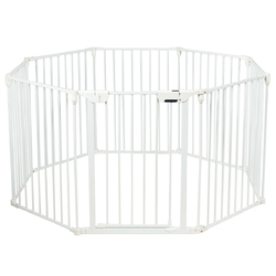 Adjustable  Panel Baby Safe Metal Gate Play Yard-White - Color: White