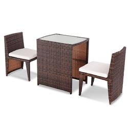 3 pcs Cushioned Outdoor Wicker Patio Set