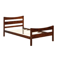 Twin Size Platform Bed Frame Foundation Slat Support -Walnut