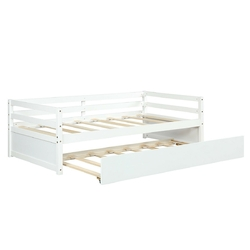 Twin Size Wooden Slat Trundle Platform-White