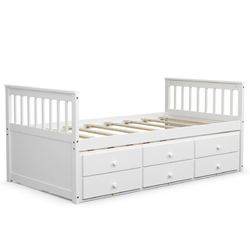 Alternative Twin Captain's Bunk Bed-White