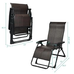 2PCS Patio Rattan Zero Gravity Lounge Chair