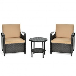 3Pcs Patio Rattan Furniture Set Cushioned Sofa Storage Table with Shelf Garden