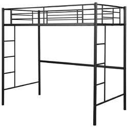 Metal Twin Loft Ladder Beds-Black - Color: Black