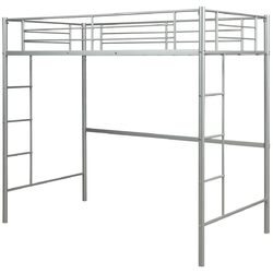 Metal Twin Loft Ladder Beds-Silver - Color: Silver