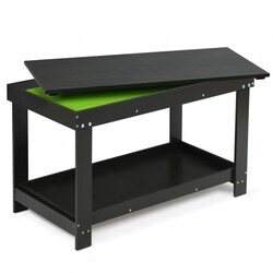 Solid Multifunctional Wood Kids Activity Play Table-Black - Color: Black