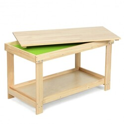 Solid Multifunctional Wood Kids Activity Play Table-Natural - Color: Natural