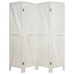 4 Panels Folding Wooden Room Divider-White - Color: White