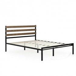 Queen Size Metal Bed Frame Foundation with Headboard