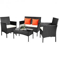 4 Pcs Patio Rattan Cushioned Sofa Furniture Set - Color: White
