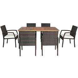 Category: Dropship Gardening, SKU #HW65409+, Title: 7PCS Patio Rattan Cushioned Dining Set with Umbrella Hole - Color: Warm White