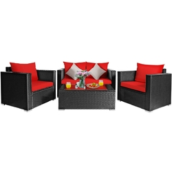 4Pcs Patio Rattan Cushioned Furniture Set - Color: Red