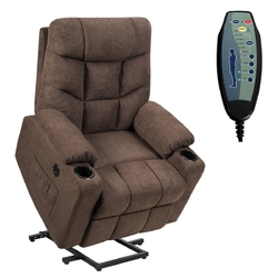 Category: Dropship Massage & Relaxation, SKU #HW65587BN+, Title: Electric Power Lift Recliner Massage Sofa-Brown - Color: Brown