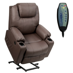 Category: Dropship Massage & Relaxation, SKU #HW65588CF+, Title: Electric Power Lift Leather Massage Sofa-Brown - Color: Brown
