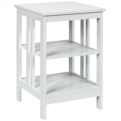 3-tier Side Table Nightstand with Stable Structure-White
