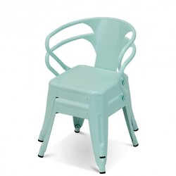 Set of 2 Steel Armchair Stackable Kids Chairs-Green - Color: Green