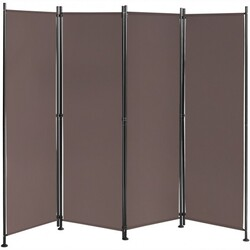 4-Panel Room Divider Folding Privacy Screen-Coffee - Color: Coffee