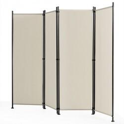 4-Panel Room Divider Folding Privacy Screen-Beige - Color: Beige