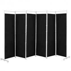 6-Panel Room Divider Folding Privacy Screen -Black - Color: Black