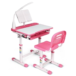 "Adjustable Kids Desk Chair Set with Lamp and Bookstand-Pink - Color: Pink - Size: 26"" x 19.5"" x (21"" - 30"")"