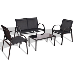 4 Pieces Patio Furniture Set with Glass Top Coffee Table-Black - Color: Black