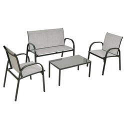 4 pcs Patio Furniture Set with Glass Top Coffee Table-Gray - Color: Gray