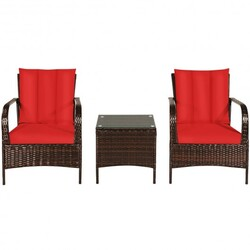 3 PCS Patio Rattan Furniture Set-Red - Color: Red