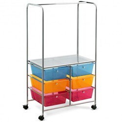 6 Drawer Rolling Storage Cart with Hanging Bar -Multicolor - Color: Multicolor