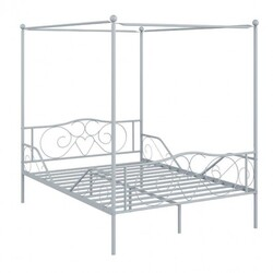 Full Size Metal Canopy Bed Frame 4 Poster Steel Slats Headboard Footboard-White
