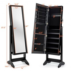 Jewelry Cabinet Stand Mirror Armoire with Large Storage Box-Black