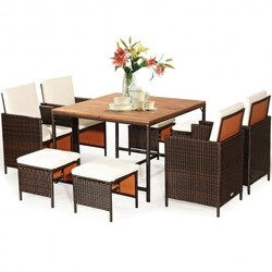 9PCS Patio Rattan Dining Cushioned Chairs Set-White